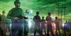 Soldados armados luchando durante el ataque de Gog de Magog