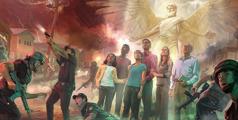 Un ángel protege a los siervos de Jehová durante el ataque