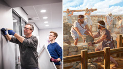 An elder works with his son doing Kingdom Hall maintenance; Nehemiah works alongside his brothers to rebuild Jerusalem's walls
