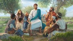Мужчины, женщины и дети собрались вокруг Иисуса и слушают его