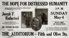 "Iklan koran kanggo kotbahé Sedulur Rutherford sing judhulé ""The Hope for Distressed Humanity"" (""Harapan kanggo Wong-Wong sing Susah"") ing Los Angeles, Kalifornia, taun 1919"