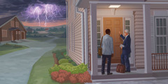 Two brothers knock on a door while a storm approaches