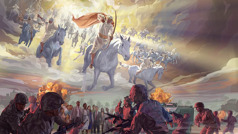 Jesus and his heavenly army ride on white horses into the battle of Armageddon to destroy God's enemies, and a great crowd of people survive