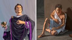 Um homem de Laodiceia usa roupa cara, usa joias e tem um cálice de ouro na mão; o mesmo homem está quase despido, veste trapos e está desnutrido