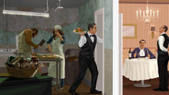 Um empregado leva comida contaminada preparada numa cozinha suja; um homem saboreia a comida que o empregado lhe serviu