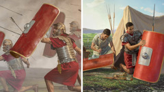Ancient soldiers use their shields in battle; a soldier and his attendant repair shields
