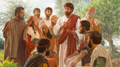 Jesus talks to a group of disciples