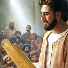 Jesus reads a scroll in the synagogue of Nazareth