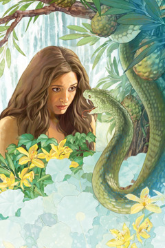 Eve is tempted by Satan, who speaks through a serpent