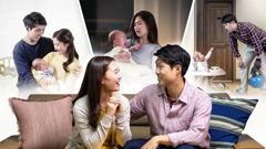 A couple discuss whether they will have children. Behind them, a collage depicts them happily holding their infant, the young mother distraught when the baby cries, and the father in his work clothes talking to his baby