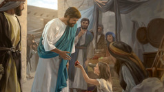 Jesus accepts a piece of fruit from a little girl as adults look on