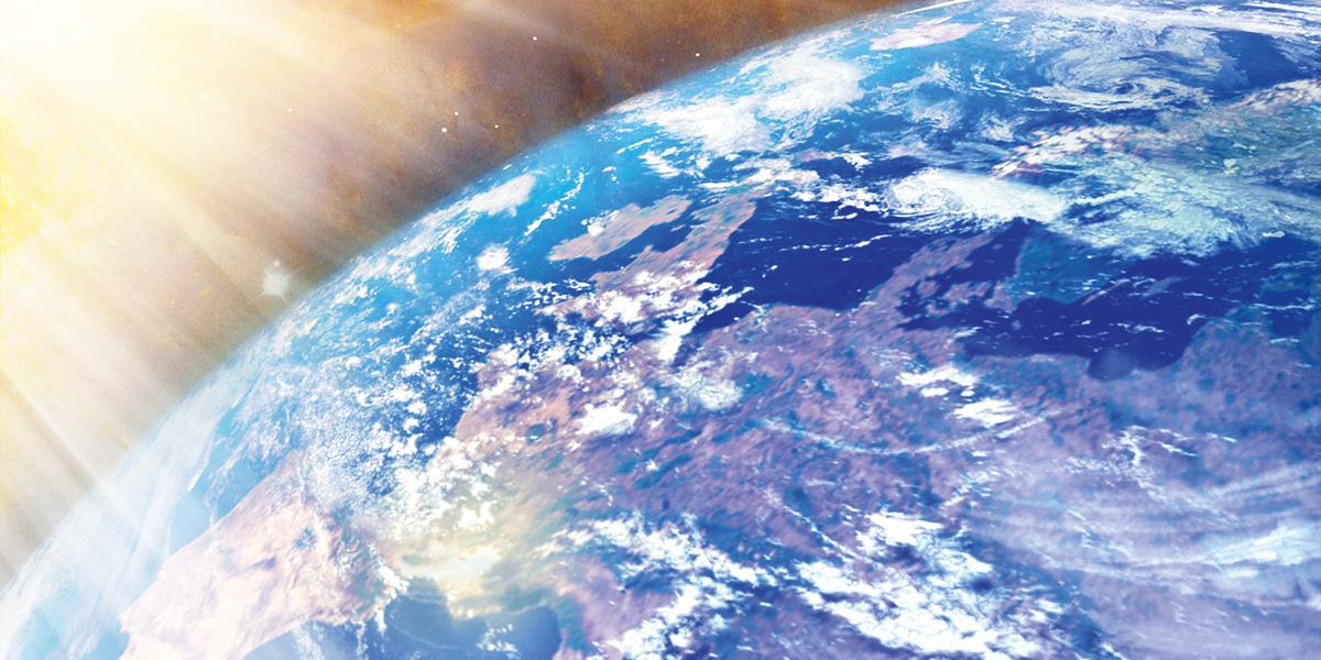 La Tierra vista desde el espacio y bañada por la luz del Sol