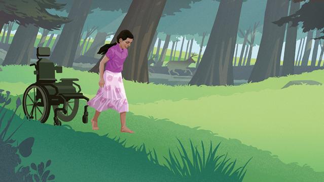Una niña se levanta de una silla de ruedas y empieza a caminar