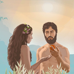 Adam holding the forbidden fruit that Eve has offered him.