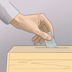 Putting a donation in a contribution box