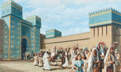 Jews leaving Babylon to travel to Jerusalem with Ezra