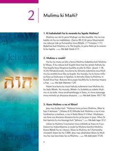 Tuto 2 mwa broshuwa ya Taba ye Nde ye zwa ku Mulimu!