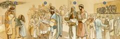 الاسرائيليون يجتمعون للعبادة، ينالون الارشاد، ويحتفلون بعيد المظال خلال شهر تِشري سنة ٤٥٥ قم