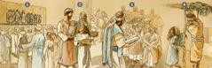 Izraelci se okupljaju kako bi štovali Jehovu, primili upute i proslavili Blagdan sjenica tijekom mjeseca tišrija 455. pr. n. e.