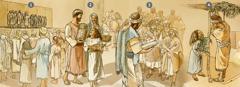 Izraēlieši pulcējas pielūgsmei, saņem norādījumus un svin Lieveņu jeb Būdiņu svētkus 455.g. p.m.ē. tišri mēnesī
