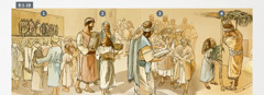 Israeliții se adună pentru a se închina, primesc instrucțiuni și țin Sărbătoarea Colibelor în Tișri 455î.e.n.