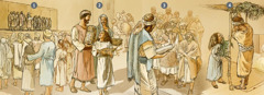 Durante tisri 455 P.K., e israelitanan a reuní huntu pa adorá, haña instrukshon i selebrá e Fiesta di Ramada