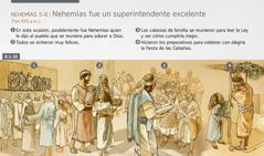 Los israelitas se reúnen para adorar a Dios, recibir instrucción y celebrar la fiesta de las Cabañas en el mes de tisri del año 455 a.e.c.