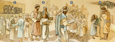 Die Israeliten versammeln sich, um anzubeten, zu lernen und das Laubhüttenfest im Monat Tischri 455 v. u. Z. zu feiern