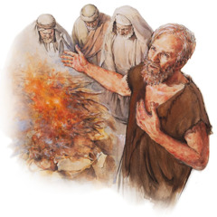 Eliphaz, Bildad, and Zophar offer up a burnt sacrifice as Job prays in their behalf