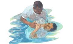 A man gets baptized