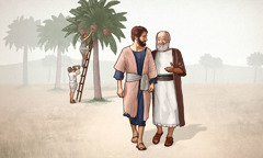 An older man and a younger man walk together near a date palm