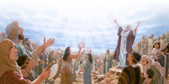 Moses and the Israelites give thanks to Jehovah