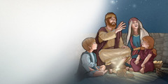A family in Bible times looks up at the starry heavens