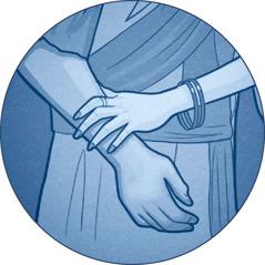 A woman touches a man's arm