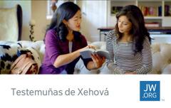 Unha tarxeta de contacto coa foto dunha testemuñas de Xehová lendo da Biblia aunha persoa
