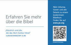 Die Rückseite einer Kontaktkarte für jw.org