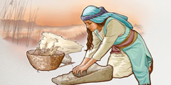 A woman in Bible times grinds grain