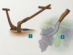 Una reja de arado y una podadera