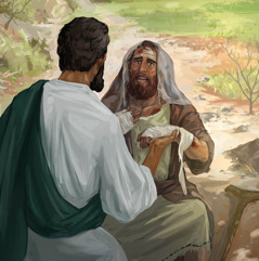 Jesus curing a man who is suffering from leprosy.