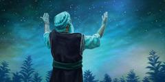 Abraão olha para as estrelas com as mãos levantadas.