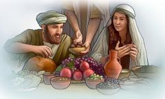 اشخاص يتناولون الطعام معا في زمن الكتاب المقدس