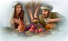 People in Bible times eat a meal together