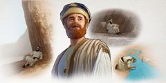 Čovjek iz biblijskog doba sklonio se pred olujom, pije vodu iz potoka i odmara se u hladovini stijene