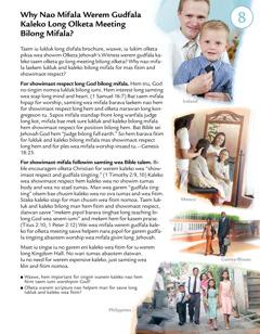 Leson 8 insaed brochure Hu Nao Duim Wanem Jehovah Laekem Distaem?