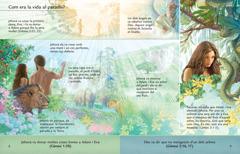Lliçó del fullet Escolta Déu iviu per sempre on es veu Adam iEva al jardí d'Eden