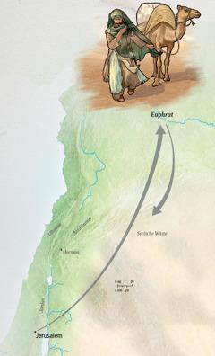 Jeremia reist von Jerusalem zum Euphrat und wieder zurück