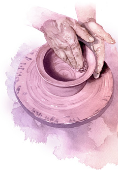 A potter molds a clay vessel
