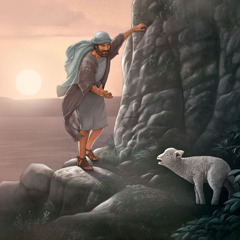 A shepherd attempts to rescue a lost sheep