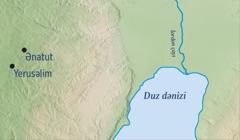 Yerusəlimin və Ərəmya peyğəmbərin doğma şəhəri olan Ənatutun təsvir olunduğu xəritə