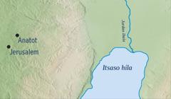 Jerusalem eta Jeremiasen jaioterri zen Anatot erakusten dituen mapa